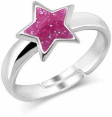 JYC Joy S - Zilveren ster ring verstelbaar roze glitter
