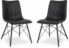 Lineaflex Seating Eetkamerstoel Dean - Set van 2 - Zwart PU Kunstleer