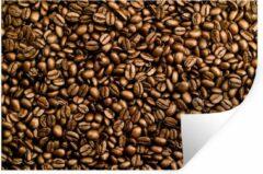 StickerSnake Muursticker Koffieboon - Lichtbruine koffiebonen op een hoopje - 120x80 cm - zelfklevend plakfolie - herpositioneerbare muur sticker