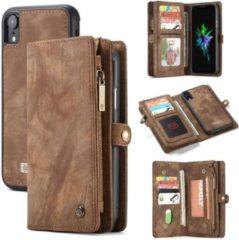 CASEME Apple iPhone Xr Luxe Lederen Portemonnee Hoesje - met backcover (Bruin)
