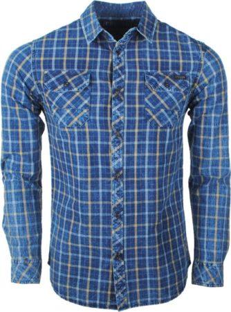 Afbeelding van Earthbound - Heren Overhemd met 2 Borstzakjes - Geblokt - Blauw