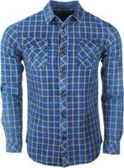 Blauwe Earthbound heren overhemd met 2 borstzakjes geblokt
