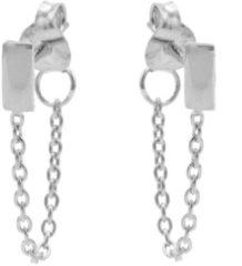 Karma Jewelry Karma Oorbellen Chain Rectangle Zilver