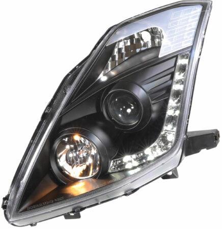 Afbeelding van Set koplampen DRL-Look passend voor Nissan 350Z 2003-2009 met OE Xenon (D2R) - Zwart