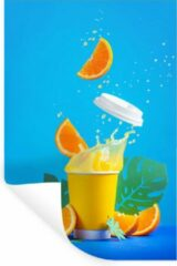 StickerSnake Muursticker Dranken - Sinaasappelsap uit papieren beker - 80x120 cm - zelfklevend plakfolie - herpositioneerbare muur sticker