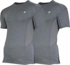 2-Pack Donnay compressie shirt korte mouw - Baselayer - Heren - Maat M - Grijs gemêleerd