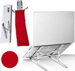 JLM High End Products - Verstelbare Ergonomische Laptop/Notebook Standaard Universeel - Verstelbaar en Inklapbaar- Lichtgewicht Apple Macbook/Air, iPad, Asus, HP, ACER, Microsoft, Lenovo, Windows - Thuiswerken - Aluminium Standaard - Rode Opbergzak