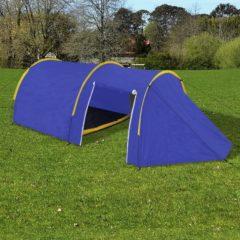 Marineblauwe Waterbestendige campingtent voor 4 personen Marineblauw / geel