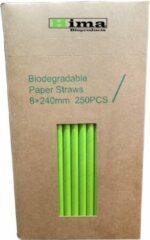 Hima Bioproducts Papieren rietjes 8x240mm groen, verpakt per 250 stuks in dispenser