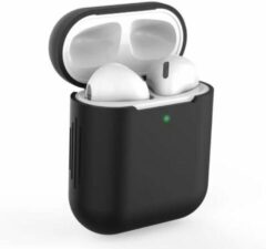 Airpodhoes Bescherm Hoes Cover Case voor Apple AirPods (Siliconen) - Zwart