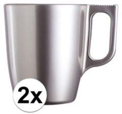 Luminarc 2x Zilveren koffie bekers/mokken 250 ml