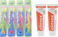 Blauwe 2x elmex kinder tandpasta en 4 x sence tandenborstels