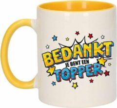 Bellatio Decorations Bedankt Topper Cadeau Koffiemok / Theebeker Wit En Geel Met Sterren - 300 Ml - Keramiek - Cadeau Beker / Waardering Mok