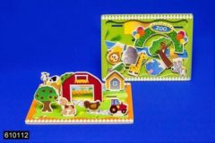 Massamarkt Speelplankje hout 3D Zoo/Farm 30x22,5cm