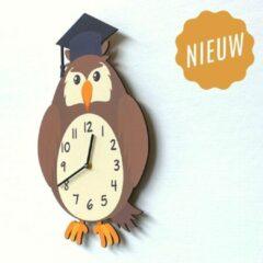 Oranje Merkloos / Sans marque Kinderklok Uil bruin | STIL UURWERK | dieren wandklok van hout voor kinderkamer en babykamer | decoratie accessoires | jongens en meisjes slaapkamer