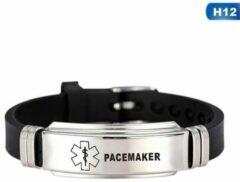 Zwarte Merkloos / Sans marque Armband Pacemaker - waarschuwings- armband