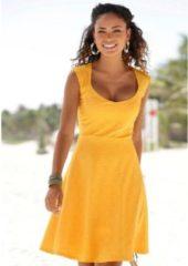 Gele BEACHTIME strandjurk met kant achter