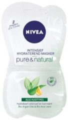 Witte NIVEA Pure & Natural Intensief Hydraterend Masker - 2 x 7,5 ml - Gezichtsmasker