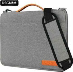 Oranje DSGN Laptoptas Schoudertas met Handvat 13 inch - Grijs - Laptop Sleeve - Laptophoes - Apple MacBook Air / Pro Case - 13.3 inch