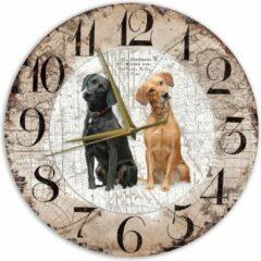Bruine Creatief Art Houten Klok - 30cm - Hond - Labrador