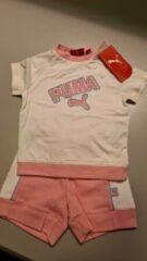 Puma set wit/roze maat 80 (9-12 maanden) shirt met broekje