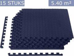 Blauwe Meisterhome ® geluidsdempende sport EVA puzzelmat set - Waterdichte fitness mat met mooie afgewerkte randen - Zachte yogamat – Easy installeren/schoonmaken - Fitnessruimte/meditatie - Warmte isolerend - 60 x 60 x 1,2 cm - 15 stuks 5.4 m²-Tardis blu