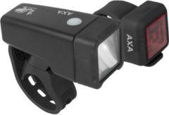 Zwarte AXA Niteline T1 Fietsverlichtingsset - Batterij - LED