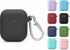 Unique Airpods 1/2 silicone bescherm case met clip - PAARS-PURPLE