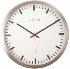 NeXtime Stripe - Klok - Stil uurwerk - Rond - Aluminium - Ø25.7 cm - Wit