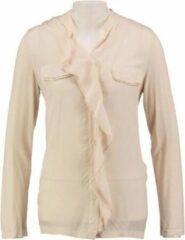 Creme witte Signe nature creme blouse materiaalmix - Maat 38