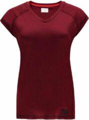 Bordeauxrode Re-Born V Nek T-shirt Kap Mouw Dames - Burgundy - Maat M