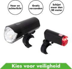 In Round Fietsverlichting Ultimate Set Voor En Achter – Zwart - Fietslicht – Fietslampjes – Fiets Lampjes – Fietslichtjes – Voorlicht – Fiets Lamp – Fietslichten – Voorlicht Batterij – Fietslamp Racefiets – Achterlicht – Koplamp – Achterlamp – Voorlamp –