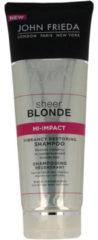 John Frieda Sheer Blonde Hi-Impact Shampoo 250 ML – 19x5x5cm | Haar Verzorging voor Vrouwen | Dames | Shampoo voor Geblondeerd Haar | Normale Shampoo voor Alle Haartypes