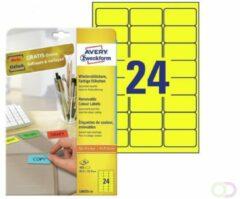 Avery afneembare gekleurde etiketten ft 63,5 x 33,9 mm (b x h), 480 stuks, 24 per blad, geel