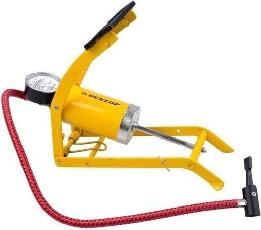 Afbeelding van Blauwe Merkloos / Sans marque Voetpomp geel met mano meter / drukmeter - 8 bar