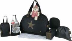 BABY ON BOARD Baby aan boord - luiertas - eclipsweekendeam - baby reistas - zwart lederen details kaki tas groot formaat geschikt voor op reis