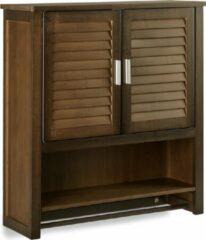 Donkerbruine Relaxdays - bamboe hangkast - badkamerkast - muurkast - bruin - hangend kastje