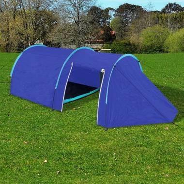 Afbeelding van Marineblauwe Waterbestendige campingtent voor 4 personen Marineblauw/lichtblauw