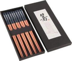 Davim Chopsticks - Hout - Blauw - 5 paar - 22,5 cm - Japanse stijl - Sushi Giftset