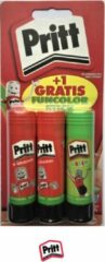 Groene Pritt - Funcolor stick - Pritt original stick - Set van 3 - Lijmstiften - Lijmstift