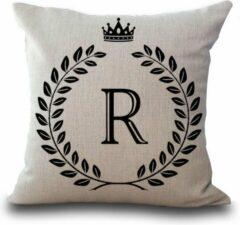 Beige Favorite Things Kussenhoesje met de letter R   Canvas sierkussenhoes 45 x 45 cm