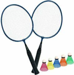 Blauwe Spordas Badminton set Kids 2 Rackets Mini + 5 Shuttles