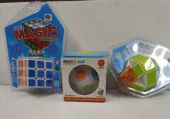 VDTOYS CE Set van 3 breinbrekers - Puzzelkubus 3x3 + Magic ball +puzzel snake