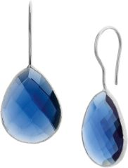 Blauwe The Jewelry Collection Oorhangers Franse Haak Synth. Saffier - Zilver