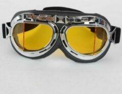 Zwarte CRG chrome pilotenbril - geel glas