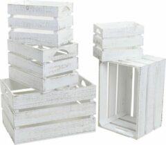 Merkloos / Sans marque 1x Houten opberg fruitkistjes/kratten wit 27 x 17 cm - Woondecoratie kratjes/kistjes wit 27,5 x 17,5 x 19,5 cm