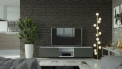 Maxima House VIGO II Zwevend TV Meubel inclusief LED - TV Meubel Wit / Grafiet - TV Kast Meubel - Modern Design - 30x180x40 cm