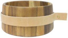 Bruine TAK Design Puka Wrap Me Serveerkom - Incl. Leer - Acacia Hout - Ø22 x 10 cm
