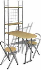 Beige VidaXL Ontbijttafelset met twee stoelen (inklapbaar) (incl. vloerviltjes)
