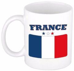 Shoppartners Beker / mok met de Franse vlag - 300 ml keramiek - Frankrijk